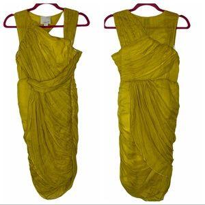 Aryn K Silk Ruched Yellow Sleeveless Formal Dress